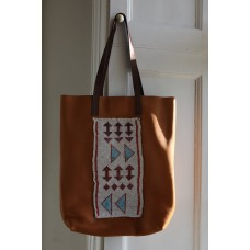 Beaded leather shopper
