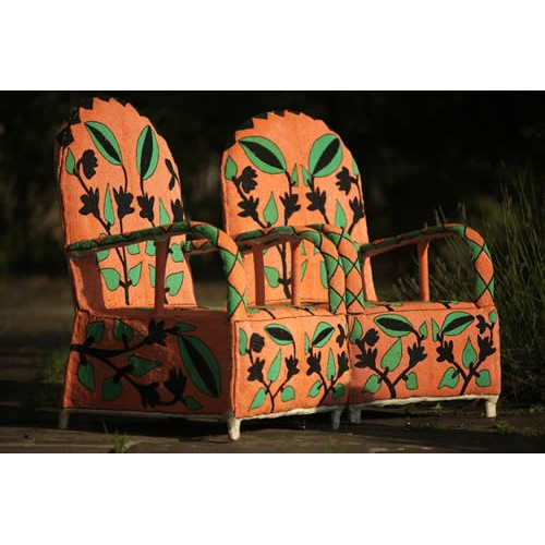 African Beaded Yoruba chairs orange, green and black