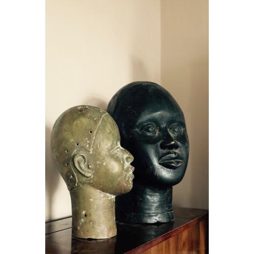 African Bronze head sculpture from Benin