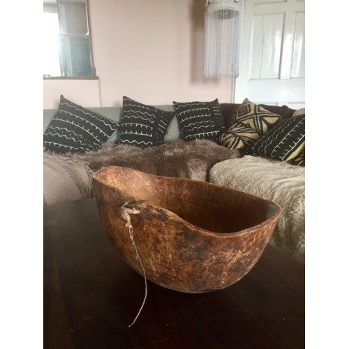 Very large Antique Turkana bowl with leather side loop