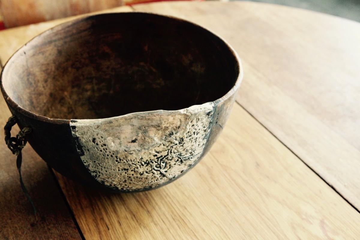 Antique Turkana bowl with metal fixing