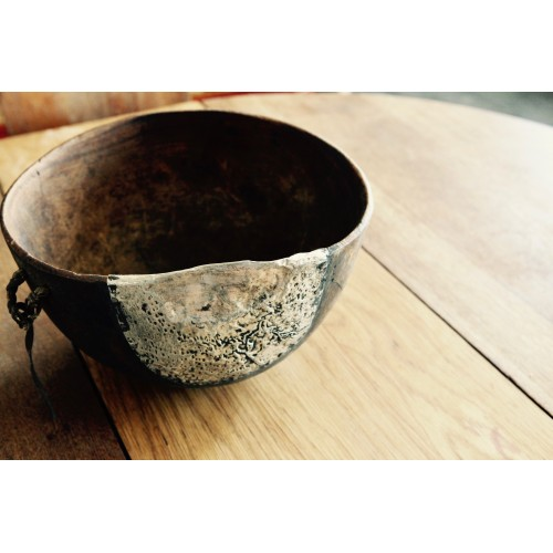Antique Turkana bowl with metal fixing