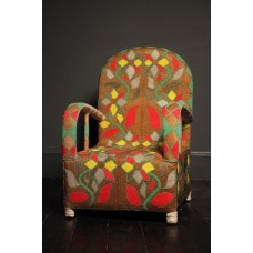 YORUBA BEADED CHAIR BRONZE GOLD FLOWER
