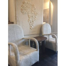 African Beaded Yoruba chairs - pure white relief pattern