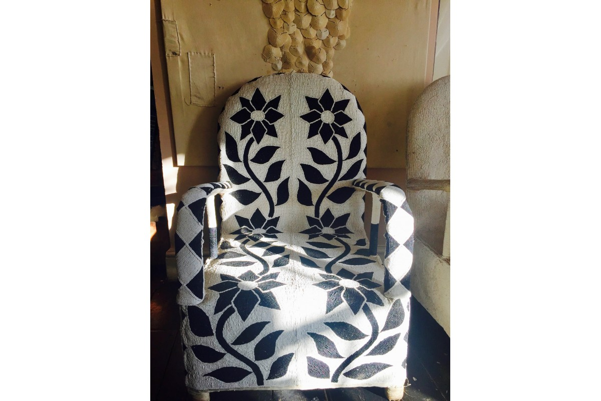 African Beaded Yoruba chairs - black and white