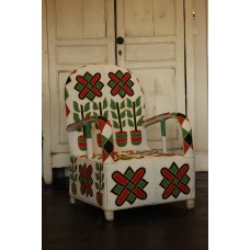 African Beaded Yoruba chairs WHITE FLOWER POT DESIGN