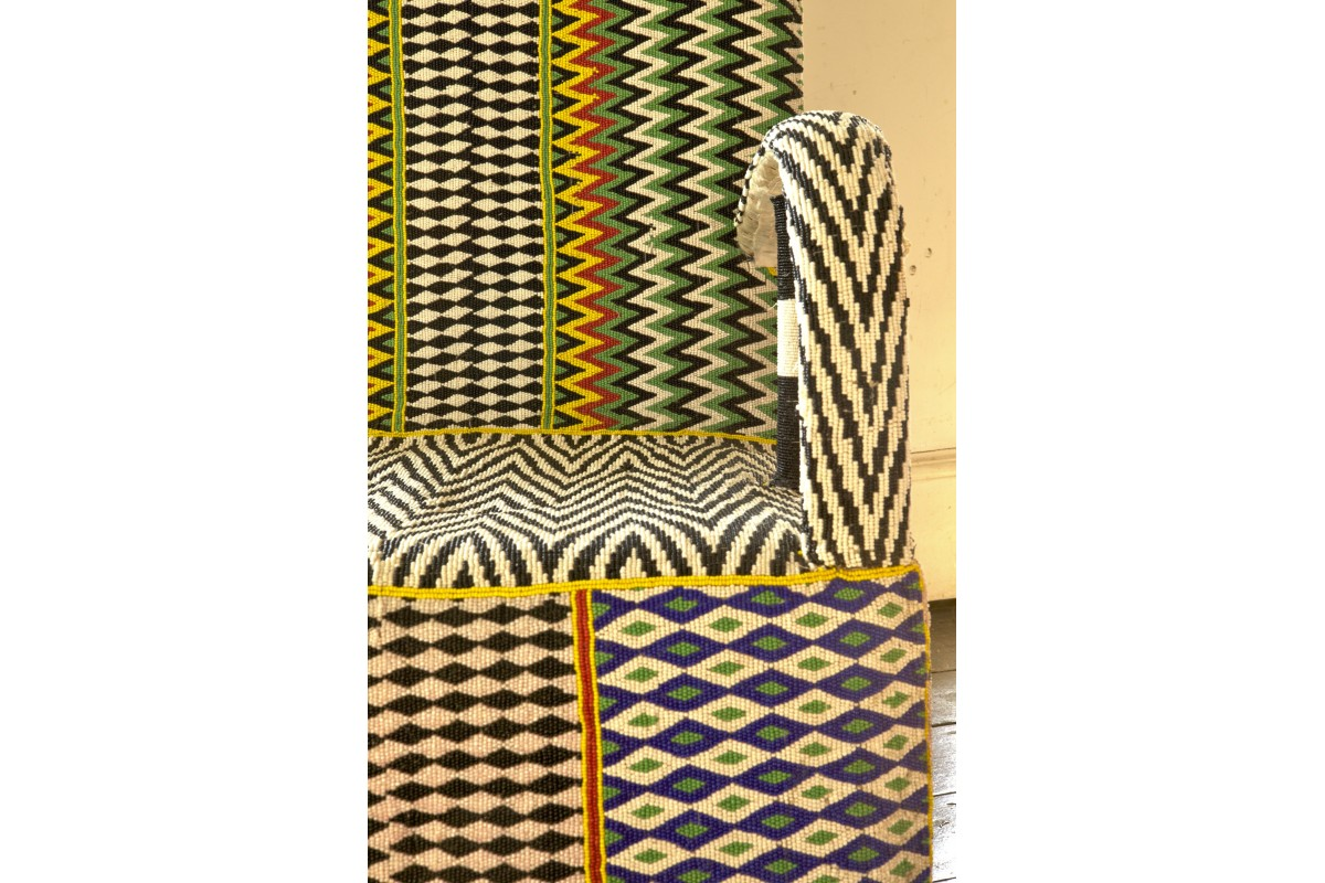 African Beaded Yoruba chairs - zig zag